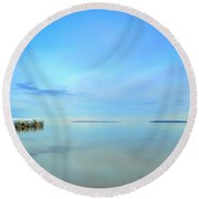 Morning Sky Reflections Round Beach Towel