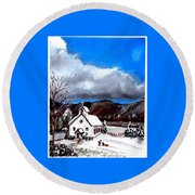 Morning Snow Ministry Round Beach Towel