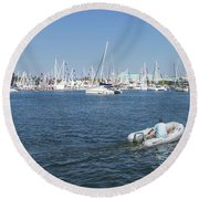 Solitude On The Creek Round Beach Towel