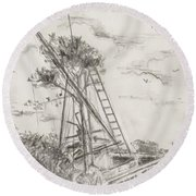 Round Beach Towel featuring the drawing Morning Star by Stan Tenney