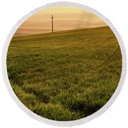 Round Beach Towel featuring the photograph Morning Sun. Moravian Tuscany by Jenny Rainbow