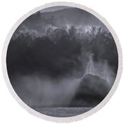 Round Beach Towel featuring the photograph Morning Sun Rising Fog Cades Cove by Dan Sproul