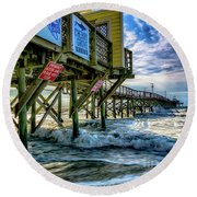 Morning Sun Under The Pier Round Beach Towel