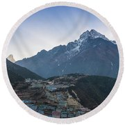 Round Beach Towel featuring the photograph Morning Sunrays Namche by Mike Reid