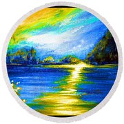Morning Sunrise 9.6 Round Beach Towel