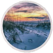 Round Beach Towel featuring the photograph Morning Sunrise At The Beach by John McGraw
