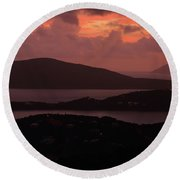 Round Beach Towel featuring the photograph Morning Sunrise From St. Thomas In The U.s. Virgin Islands by Jetson Nguyen