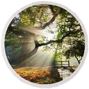 Morning Sunrise In Hampden Park Round Beach Towel
