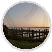 Morning Sunrise Over Assateaque Island Round Beach Towel by Donald C Morgan