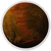 Morning Sunrise With Fog Touching The Tree Tops In Georgia. Round Beach Towel