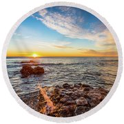 Round Beach Towel featuring the photograph Morning Sunshine by Gary Gillette