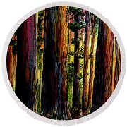 Morning Trees Round Beach Towel