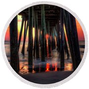 Morning Under The Pier Round Beach Towel