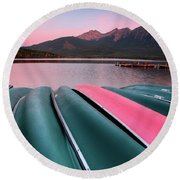 Morning View Of Pyramid Lake In Jasper National Park Round Beach Towel