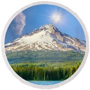 Morning View Of The Mt Hood Round Beach Towel