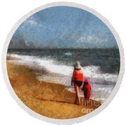 Morning Walk Along The Beach Round Beach Towel