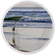 Round Beach Towel featuring the photograph Morning Walk At Ormond Beach by Steven Sparks