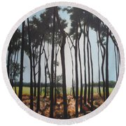 Morning Walk. Round Beach Towel