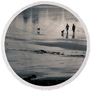 Morning Walk, Gooch's Beach, Kennebunk, Maine Round Beach Towel