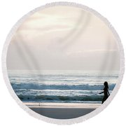 Morning Walk With Color Round Beach Towel