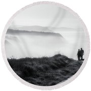 Morning Walk With Sea Mist Round Beach Towel