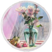 Round Beach Towel featuring the painting Morning's Glory by Steve Henderson
