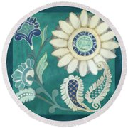 Round Beach Towel featuring the painting Moroccan Paisley Peacock Blue 2 by Audrey Jeanne Roberts