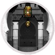 Round Beach Towel featuring the digital art Moroccan Style Doorway Lamps Courtyard And Fountain Color Splash Black And White by Shawn O'Brien