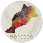 Morocco Watercolor Map Round Beach Towel