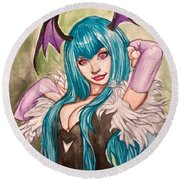 Morrigan Aensland  Round Beach Towel