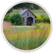 Round Beach Towel featuring the photograph Morris Arboretum Mill In September by Bill Cannon
