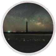 Morris Island Light House Milky Way Round Beach Towel