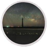 Morris Island Light House Milky Way Round Beach Towel