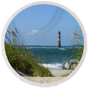 Morris Island Lighthouse Walkway Round Beach Towel