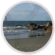 Round Beach Towel featuring the photograph Morris Lighthouse by Sandy Keeton