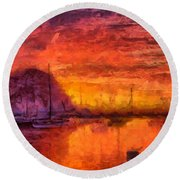 Morro Bay Marina Round Beach Towel