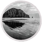 Round Beach Towel featuring the photograph Morro Rock II by Margaret Pitcher
