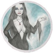 Morticia Addams Round Beach Towel
