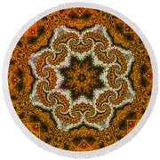 Round Beach Towel featuring the digital art Mosaic Antigua by Richard Ortolano