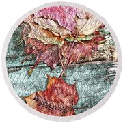 Mosaic Colorful Maple Leaves Of Michigan Round Beach Towel