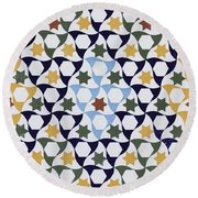 Mosaic From The Portico Of The Generalife Round Beach Towel