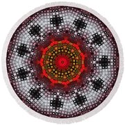 Round Beach Towel featuring the digital art Mosaic Kaleidoscope 2 by Shawna Rowe