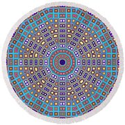 Round Beach Towel featuring the digital art Mosaic Kaleidoscope  by Shawna Rowe