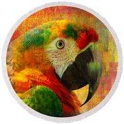 Mosaic Macaw 2016 Round Beach Towel