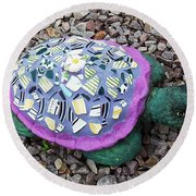 Mosaic Turtle Round Beach Towel by Jamie Frier