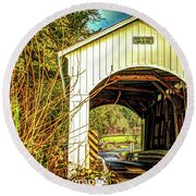 Mosby Creek Bridge Round Beach Towel