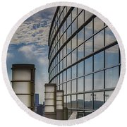 Round Beach Towel featuring the photograph Moscone West Balcony by Darcy Michaelchuk