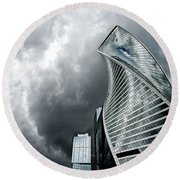 Moscow City And Storm Round Beach Towel