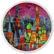 Moscow Red Square View Textural Impressionist Stylized Cityscape Round Beach Towel