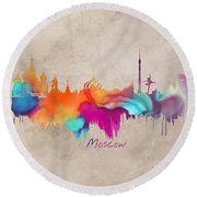 Moscow Russia Skyline City Art Round Beach Towel by Justyna JBJart